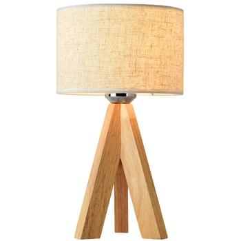 Simple modern table lamp floor lamp Japanese-style log lamp bedroom bedside decoration Nordic solid wood Art study cloth lamp
