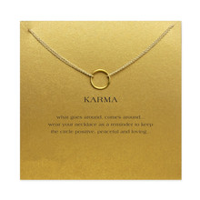 karma Double chain Circle necklace plated gold color Pendant necklaces Fashion Clavicle Chains Statement Necklace Women Jewelry