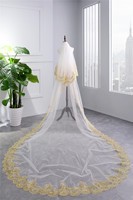 2019 New Appliques Wedding Veil Gold Lace Edge Long Veil Wedding Accessories 3.5 Meters White Ivory Tulle Bridal Veil
