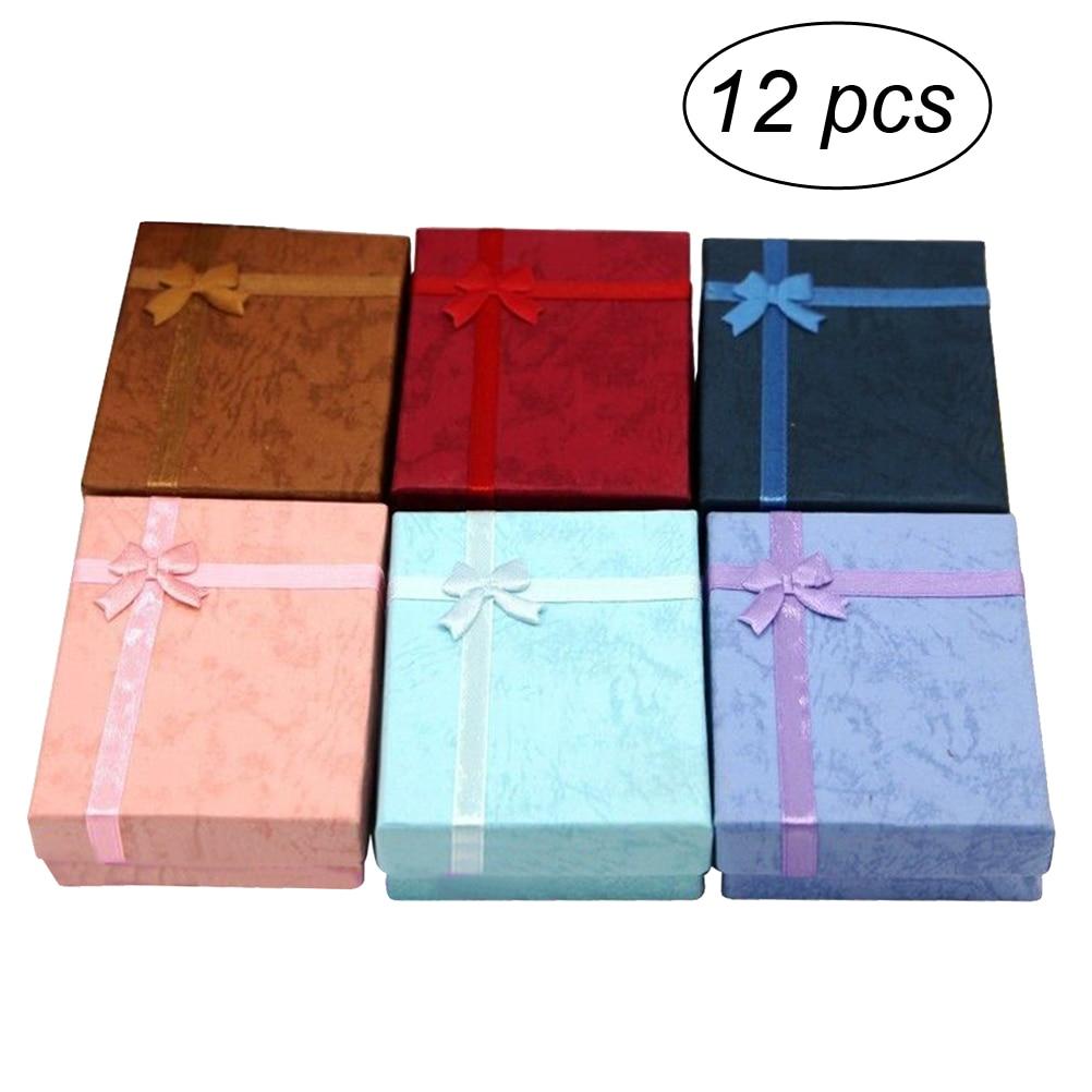 12 Stks Elegante Luxe Rechthoekige Boog Ketting Geschenkdozen Voor Sieraden Presentatie