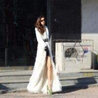 Длинные Мех животных зимние Для женщин белый Пальто для будущих мам роскошный искусственный лиса Мех животных тонкий Для женщин Мех животн