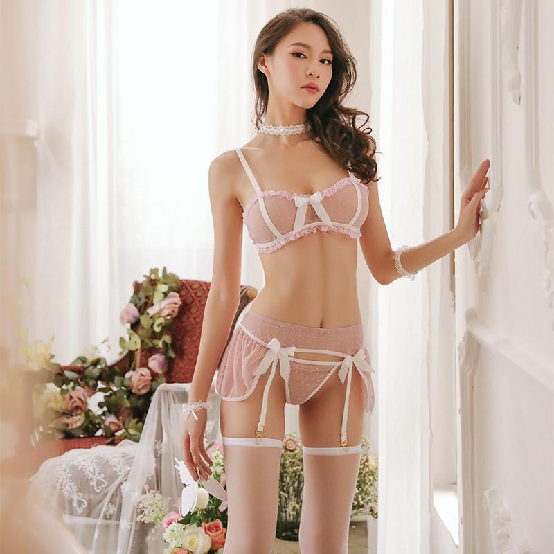 Women Sexy Lingerie 3PCS Set Bra & Panties Set Transparent Lace Bikini Cute Exotic Apparel Kawaii Lingerie Lenceria