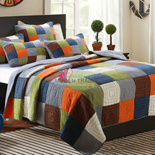 Handmade quilted Patchwork Quilt 3PCS Washed cotton quilted Bedspreads American country style bed cover queen King size bedding