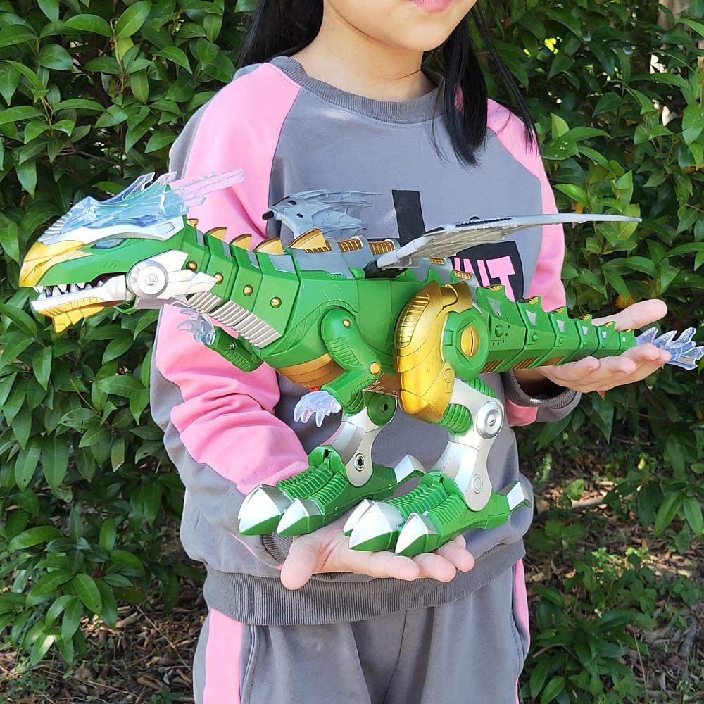 o envio gratuito de brinquedo eletrico grande tamanho andando dinossauro robo com luz som dinossauros mecanicos