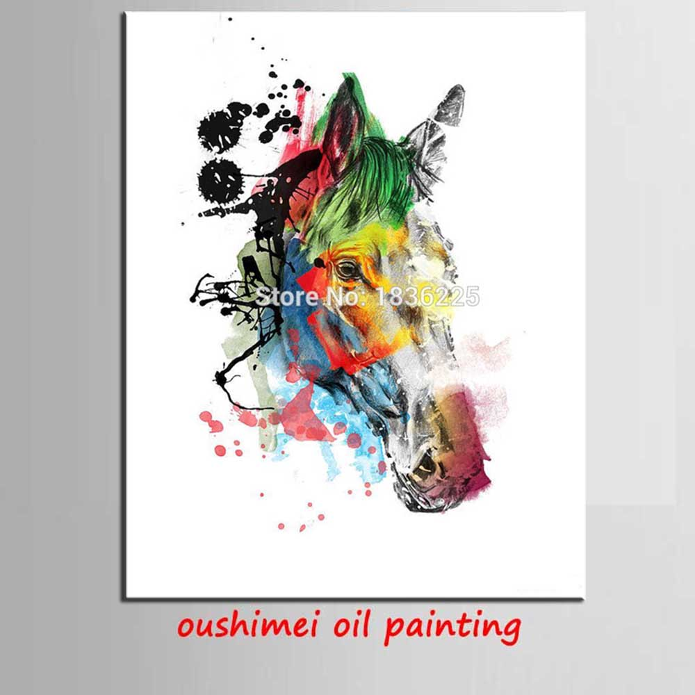 7a41b872c68 Hand Painted colorful horse head Paintings Wall Painting Picture on Canvas  Abstract Decor Animals Modern Oil Painting Pictures