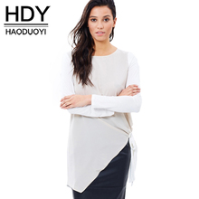 купить HDY Haoduoyi Fashion Asymmetrical Tops Women Long Sleeve Female Pullover Tops Street Patchwork O-neck Casual Long T-shirt дешево