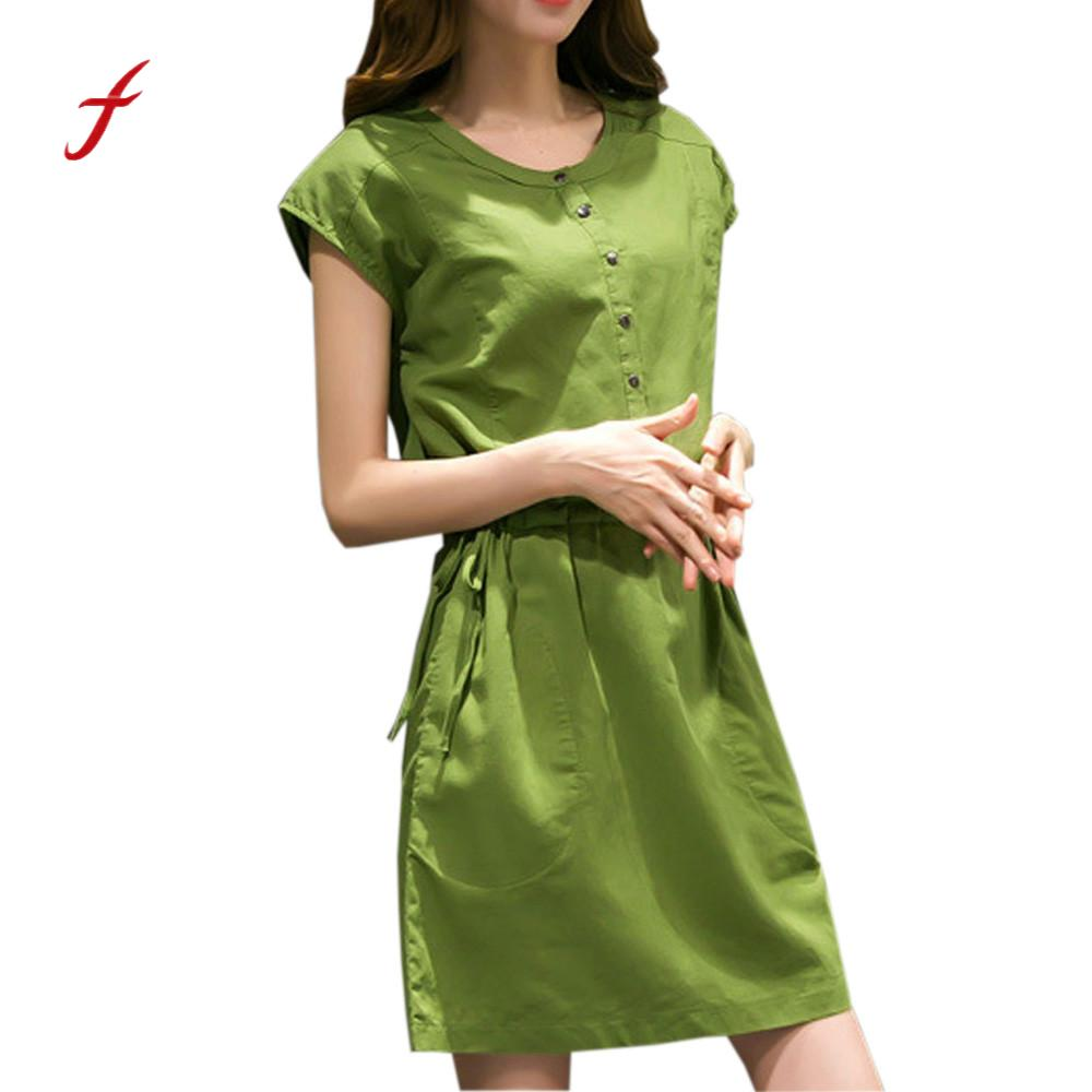 Feitong Women elegant Dress Summer Short Sleeve solid female office wear Knee-Length dresses Loose Casual Dress vestidos /PY partes del cable coaxial