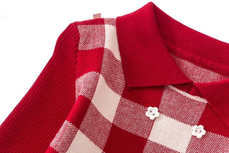 New girls lattice wool knit dress Lapel long sleeve tops in Dresses from Mother Kids