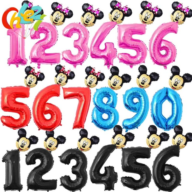 32inch Mini Mickey Minnie head+Number balloon Pink Blue Red Black figure 1 2 3 4 5 6 7 8 year kid boy girl Birthday Party decor