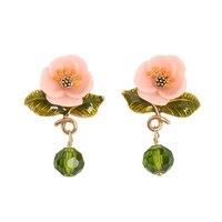 Les Nereides Szkliwa Glazury Europa i stany Zjednoczone oryginalny różowy żywica kwiat zielonych liści szkła klejnot kobiety kolczyki