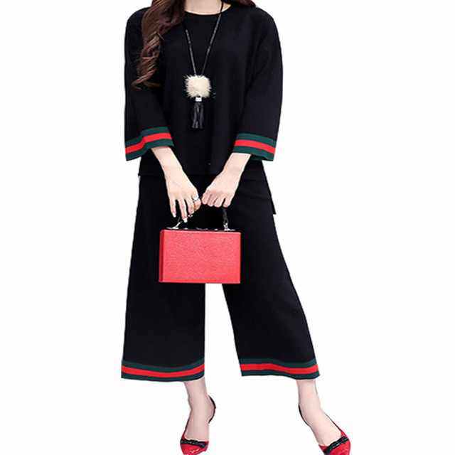 Spring Autumn Women Knitted Sweater Suit Set Two Piece Set Wide Leg Pants Loose Casual 2 Piece Set Womens Suits 2 Pieces Black
