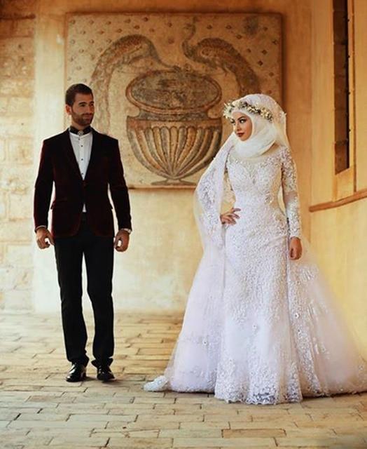 מקורי צווארון גבוה חמה למכירה שרוולים ארוכים תחרה מוסלמית שמלות כלה עבור JD-39