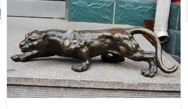 Copper Crafts Brass Tibetan decoration Big Bronze Sculpture Statue Panther Leopard Jaguar Cat Marked Enamel Decoration