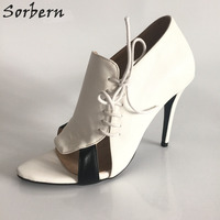 Sorbern 패션 레이스 업 사이즈 12 신발 높은 뒤꿈치 스틸레토 힐 펌프 여성 신발 빨간색 바닥 오픈 발가락 신발 여성 독특한 하이힐 DIY