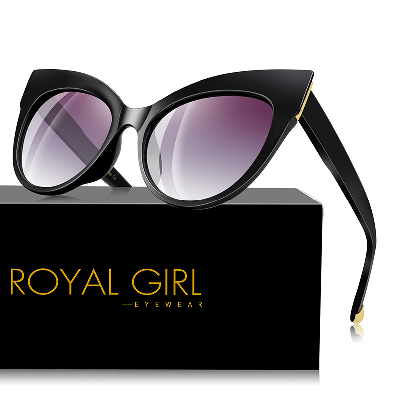 73528b04408 ROYAL GIRL Retro Cat Eye Sunglasses Women Men 2019 Sexy Square Big Frame  Sun Glasses Black Red Eyewear oculos de sol UV400 ss007
