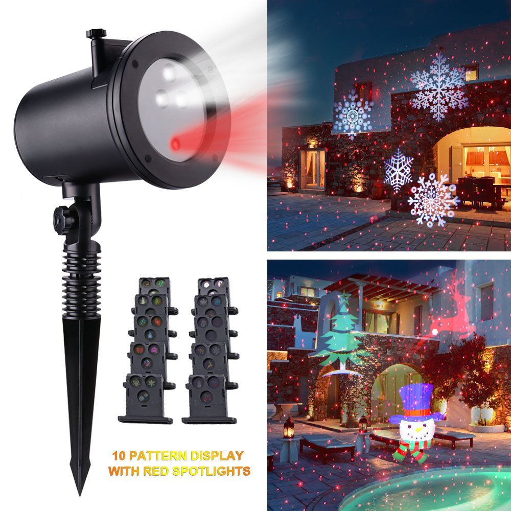 Holigoo LED Projector Spotlights Rotating Lamp Decorative Light with 10pcs Switchable Pattern Lens for Christmas Halloween Home