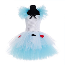 Blue White Queen Alice in Wonderland Costume Kids Puff Knee Length Queen of Hearts Fancy Dress Costume Girls Birthday Tutu Dress цена 2017