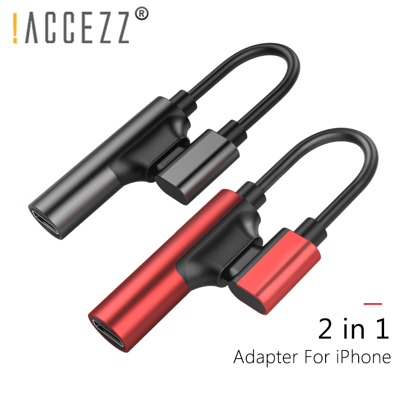 !ACCEZZ 2 In 1 Double Lighting Charging Audio Adapters For Iphone X 10 8 7 Plus IOS 10.3 11 Charge AUX Splitter Cables Connector