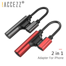 !ACCEZZ 2 in 1 Double Lighting Charging Audio Adapters For iphone X 10 8 7 Plus IOS 10.3 11 Charge AUX Splitter Cables Connector(China)