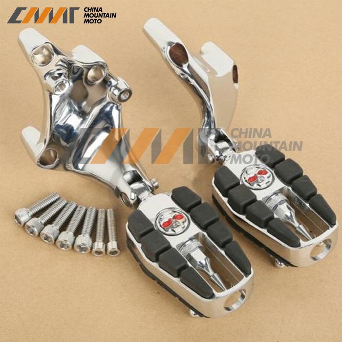 цена на Zombie Skull Chrome Foot Pegs W/ Brackets For Harley 883 1200 XL Sporster 14-16