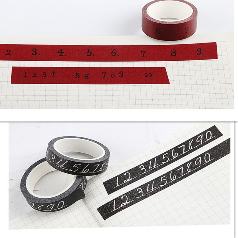 Lovedoki Vintage Number Decorative Tape Washi Paper Tapes Planner Accessories Label Stickers Diary Scrapbooking Diy Stationery