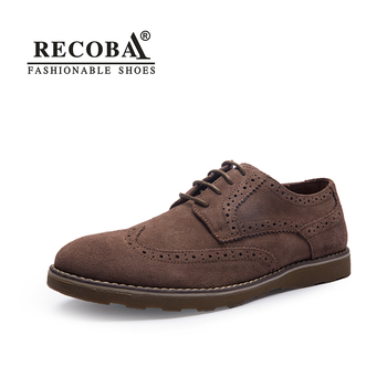Men casual wingtip shoes brand suede genuine leather big size formal derby oxfords flat shoes tan brogues shoes zapatos hombre suede