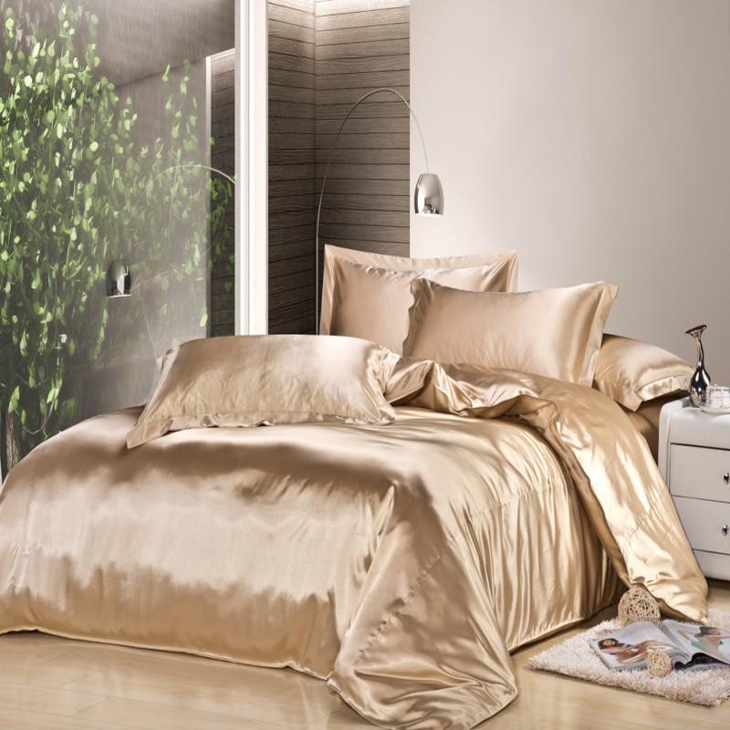 4pc Solid Color Light Brown Silk Bedding Set Duvet Cover