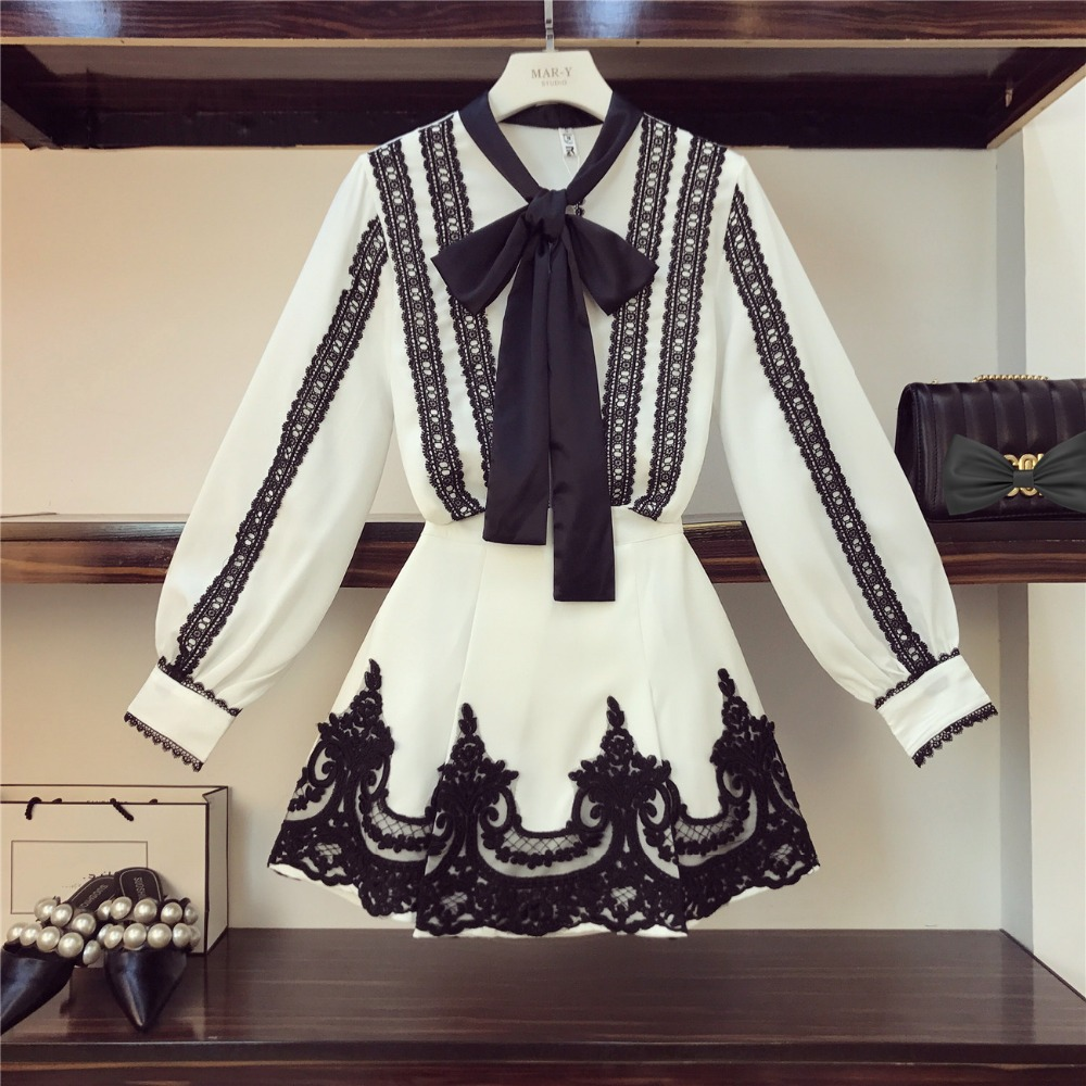 Runway Design 2019 Spring Women Long Sleeve Bow Lace Shirts Luxury Sweet Skirt 2 pcs sets