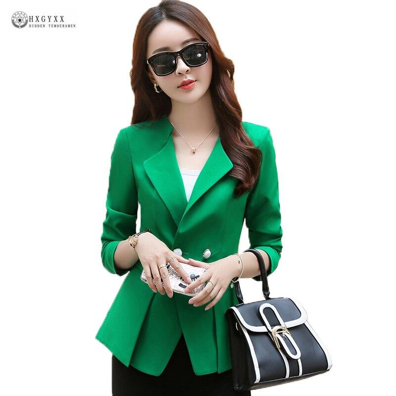 2018 New Autumn Big Yard Women Blazer Elegant Pure Color Long Sleeve Slim Spring Outwear Ladies Fashion Office Blazers OK780