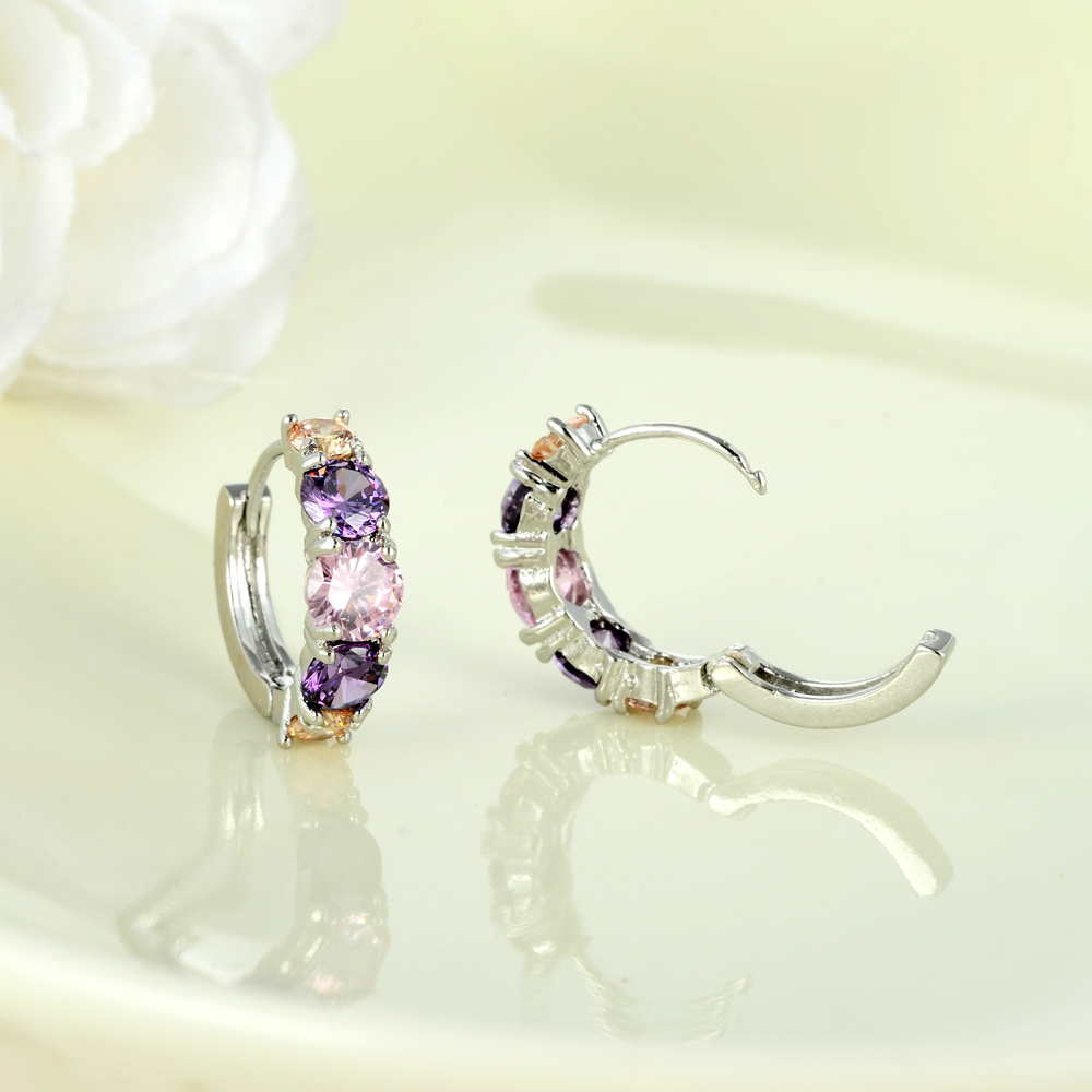 Colorful CZ Zircon Silver Studs Earrings For Women Earrings With Stones Austrian Crystal Pendientes Zirconium Wholesale in Stud Earrings from Jewelry Accessories