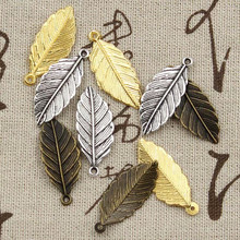 12pcs Charms Leaf 31x12mm Antique Making Pendant fit Vintage Tibetan Bronze Silver color DIY Handmade Jewelry cheap hroryn Zinc Alloy like photo Metal TRENDY