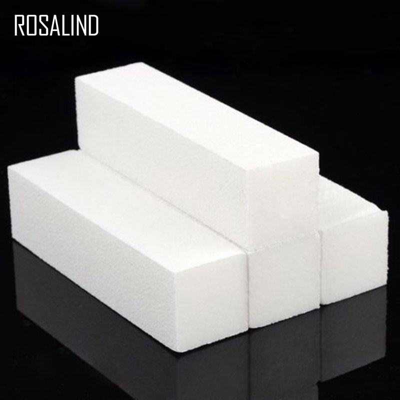 ROSALIND 4Pcs/Lot Buffer File Nail Block Tools Pedicure Manicure Buffing Sanding Polish White DIY Nail Art Woman Salon