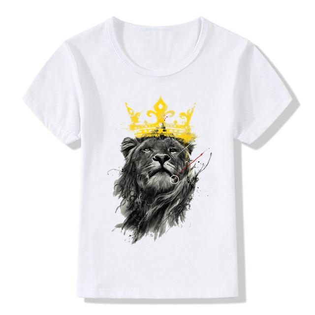 e1c79d7263d10 Enfants Lion Roi Imprimer Drôle T-shirt Enfants D été Tops Filles Garçons À