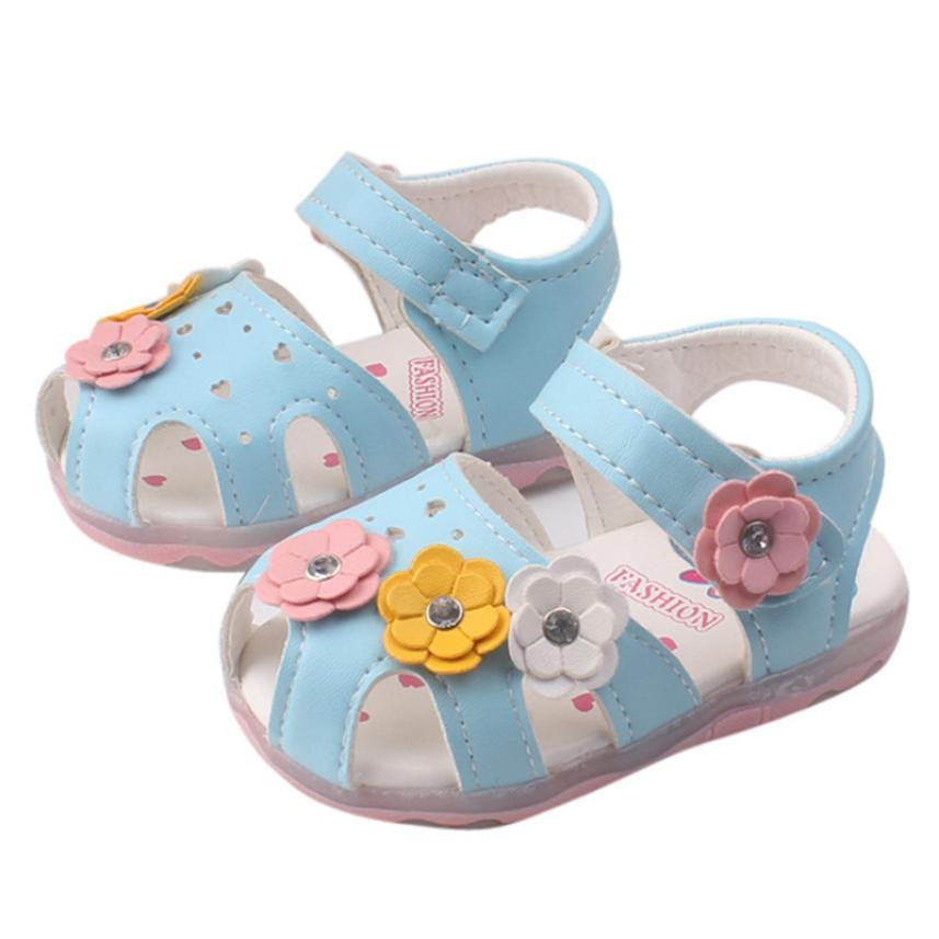 2018 CHAMSGEND HOT Sale Casual Unisex Toddler New Flowers Girls Sandals Lighted Soft-Soled Princess Baby Shoes  6.6