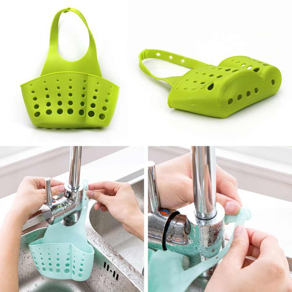 1PCS Kitchen Sponge Holder Draining Rack Sink Bathroom Storage Shelf Sink Holder Drain Basket 4 Colors