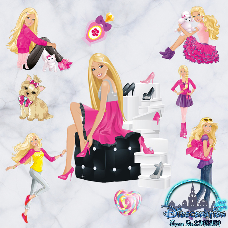 acquista all ingrosso online barbie adesivi da grossisti jual barbie shopping wall sticker transparant glow in