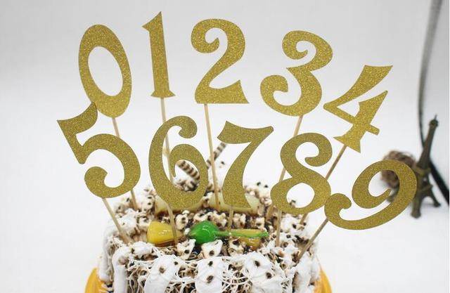 10pcs 0 9 Gold Silver Glitter Numbers Personalized Cake Topper Kit Wedding Birthday Cupcake Party Decorations
