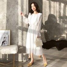 2019 Women Spring Dress Chiffon Vestidos Long White Elastic Waist Ruffle A-line Vintage Vestidos Plus Size Long Sleeve Elegant недорого