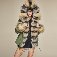 Fashion Women's Luxurious Large Real Fox Collar Cuff Hooded Coat Short Parkas