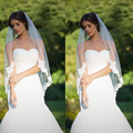 Wedding Bridal Veils Lace Edge Two Layer Chapel Train 2015 Ivory Color Wedding Bridal Accessories Wedding Veils Cheap