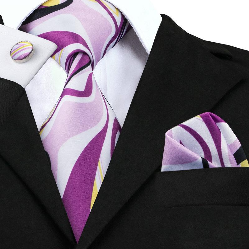 C-1269 Silk Neckties Purple Ties Handkerchief Cufflinks Print Mens Tie Sets With Brand Hi-Tie Newest Design Neck Ties For Men