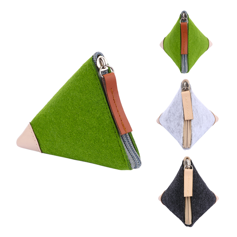Cheap Fashion Coin Purse Wallet Women Men Coin Key Purses Wool Triangle Coin Small Casual Change Pouch Bag Wallets
