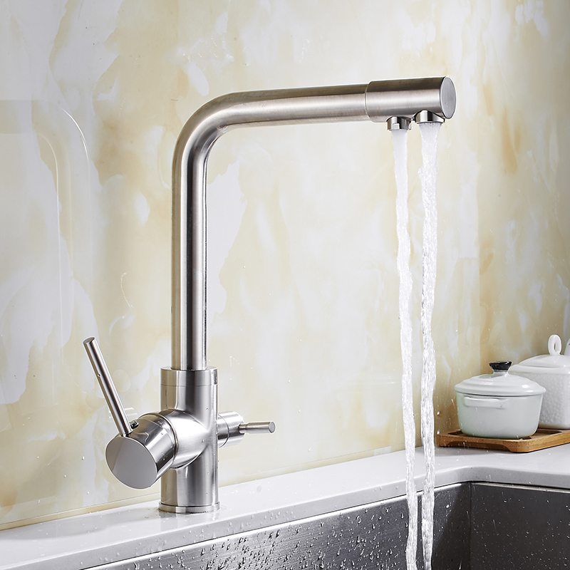 Free Shipping brass material 360 degree Nickel kitchen faucet sink faucet with water purifier luxury direct drink faucet New tap free shipping new arrivals kitchen faucet brass chrome double use hot and cold kitchen sink faucet with direct drink faucet