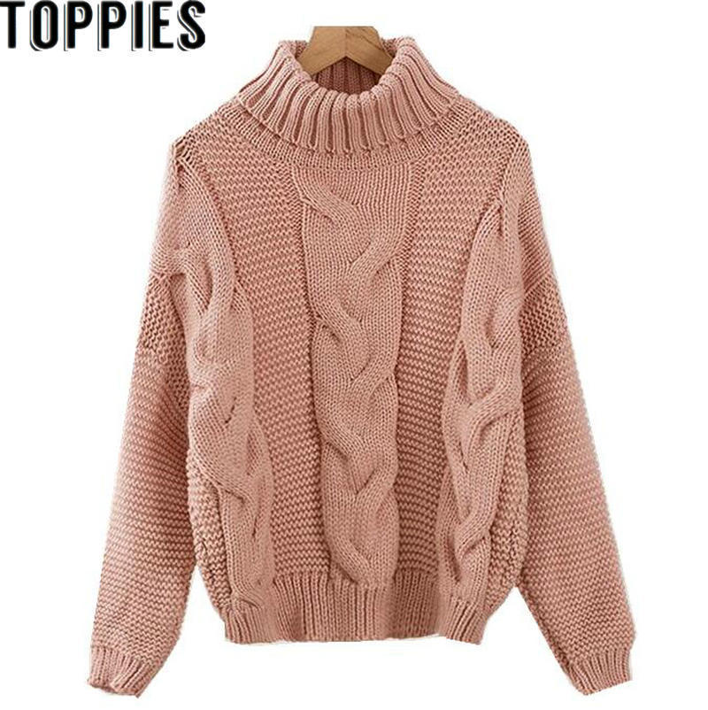 2019 Women Winter Turtleneck Vintage Knit Sweater Twist Knitting Oversized Pullover Thick and Comfy Women Causal Tops
