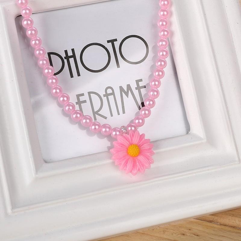 Friendly Resin Infant Nice Baby Flower Necklace Bracelet Finger Ring Set Kids Jewelry Set Children Accessories Handmade 1