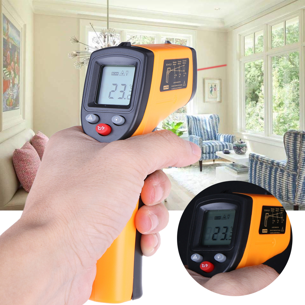 Digital GM320 termómetro infrarrojo sin contacto pirómetro IR punto láser pistola con luz de fondo-50 ~ 380 grados para industrial uso