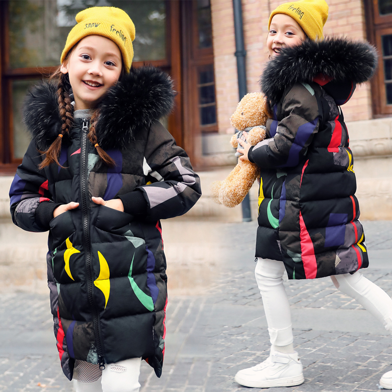 Girl Spring/Winter Jacket New Fashion Duck Down Coat Thick Warm Coloured Fur Collar Hooded Children Camo Outerwear Coat 2017 new winter cotton coat women long loose thick warm jacket fashion hooded fur collar female big pocket parkas