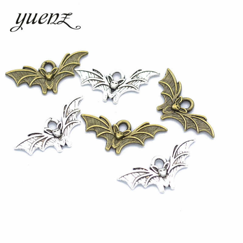 YuenZ 40 pcs Antique Silver Bronze Charms Metal Bat Charm Pendant Necklace Jewelry Hand made 21*10mm D549