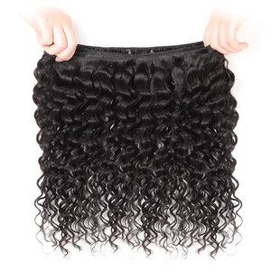 Image 3 - Onda profonda bundle con chiusura Peruviana dei capelli bundle con chiusura lanqi non remy umani Brasiliani fasci del tessuto dei capelli con chiusura