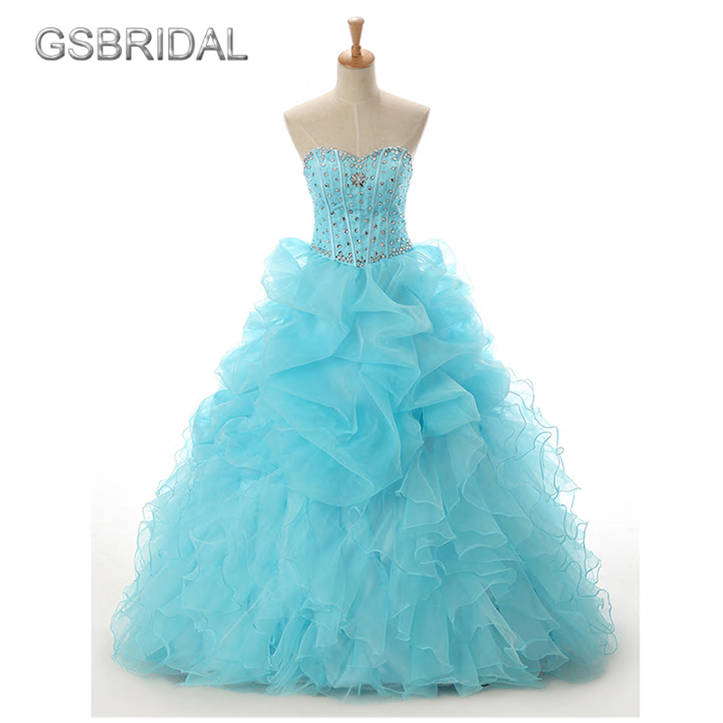 GSBRIDAL Light Blue Off the Shoulder Sweetheart Ruffle Skirt Beading Prom Dress